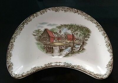 Johnson Brothers Ceramic Plate Crescent Shaped Watermill Pattern Brown Edging