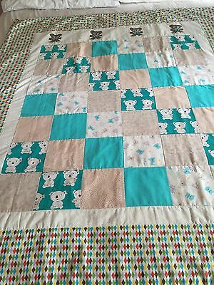 """Handmade quilt """"koalas"""" with some applique  size 47"""" x 55"""""""