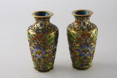Vintage Chinese Pair Cloisonne Enameled Small Vase