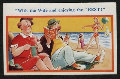 "e1156)   VINTAGE SUNSHINE COMIC POSTCARD: WITH THE WIFE & ENJOYING THE ""REST"""