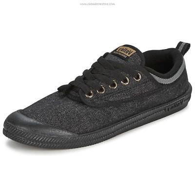 Volley International Men's Sneakers Casual Lace Up Shoes Canvas Black Jeans