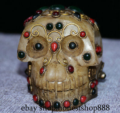 "4"" Rare Nepal Tibet Buddhism Old Crystal Gem Carved Skull Head Statue Sculpture"