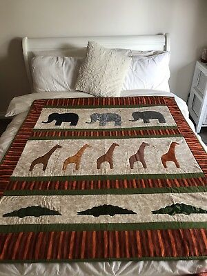 """Handmade Patchwork Quilt """"Little Africa"""" size 56"""" X 48"""" With Appliqué"""