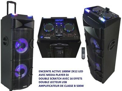 "Enceinte Active 2X12"" 1000W Media Player Dj Led Usb Bluetooth Table De Mix Ibiza"