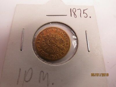 Rare: Germany - Prussia, 1875, 10 mark gold coin