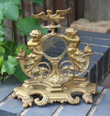 Antique Vintage Brass Cherub Mantel Clock Surround Case Stand