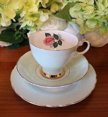 Tuscan China Pale Green with Pink Roses 22kt Gold Vintage Tea Set Trio
