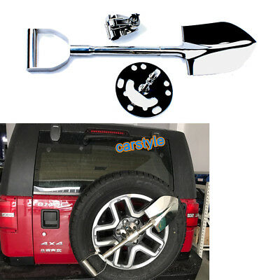 4WD 4x4 SPARE TYRE 304 STAINLESS STEEL SNOW SHOVEL WITH KEY LOCKED SPADE BRACKET