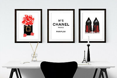 Fashion Prints Set of 3 Poster Wall Art A4 Boutique Women Gift Girly Salon -105