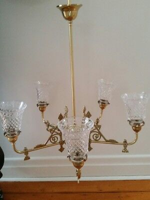 5 arm Victorian style polished brass chandelier with etched glass shades