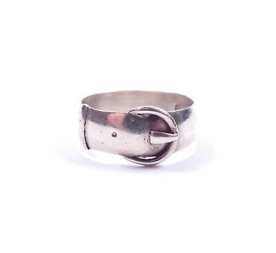 Antique Victorian Buckle Ring Birmingham 1880 HM 925 Sterling Silver 2.8g