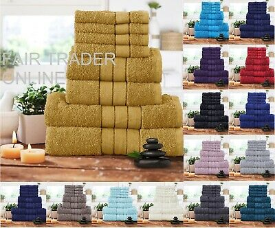 Luxury 8 Pc Thick Soft Pure Cotton Towels Bathroom Set Jumbo Sheet Bale Set New