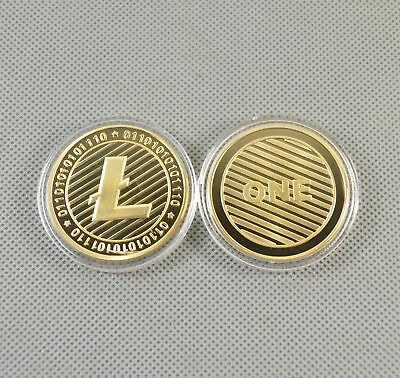 2PCS Gold Plated Commemorative Litecoin Collectible Iron Miner Coin Gift XN10