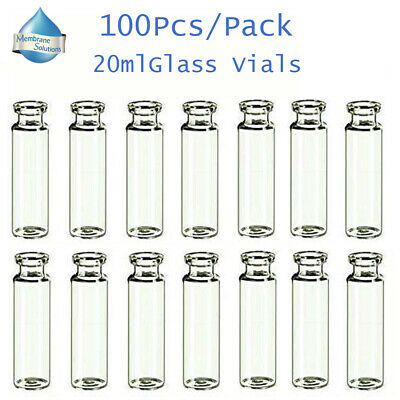 100Pcs/Pack 20ml Serum Clear Glass Vials 20mm Crimp top,Bevelled,Round bottom
