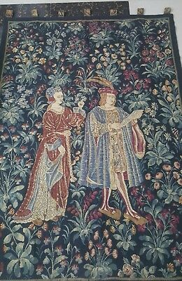 """Antique 19c Aubusson French Tapestry Beautiful Color  size 72""""×49""""(cm183×125)"""