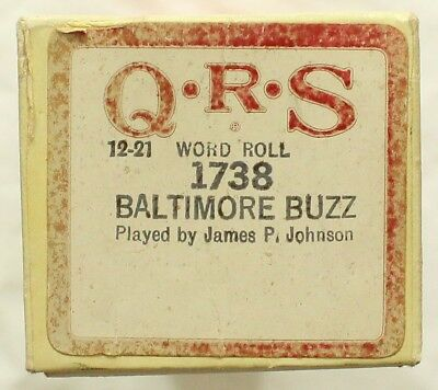"JAMES P. JOHNSON ""Baltimore Buzz"" QRS 1738 [PIANO ROLL]"