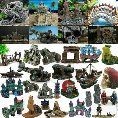 Fish Tank Ornament Landscape View Ship Rockery Cave Bridge Aquarium Decor lot