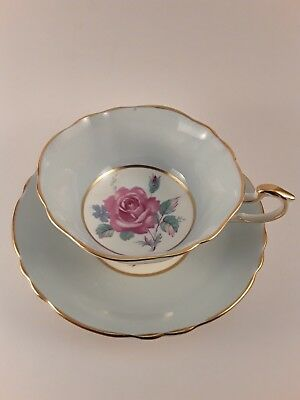 Paragon Cup Ans Saucer Blue With Large Rose