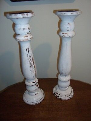 Pair of Large Turned Wooden Candlesticks, painted for Vintage look.
