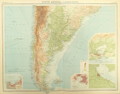 Map of Southern South America. 1922. ARGENTINA. URUGUAY. ANDES. CHILE