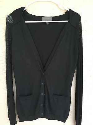 Zac Posen for Target Button down Black cardigan with mesh sleeves, size Small