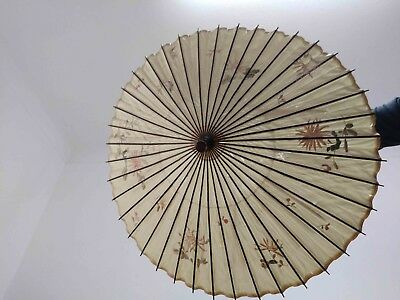 Rare Antique Chinese Wood Embroidered Silk Bamboo Hand Carved Handle