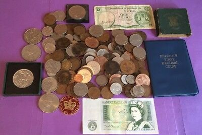 JOB LOT OF OLD BRITISH COINS, BFDC, FOB CROWN & CROWNS, 99p NO RESERVE, #4