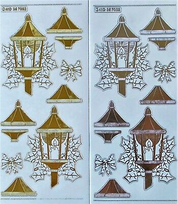 Double Embossed on Clear 3D CHRISTMAS LAMPS PEEL OFF STICKERS Holly Bows