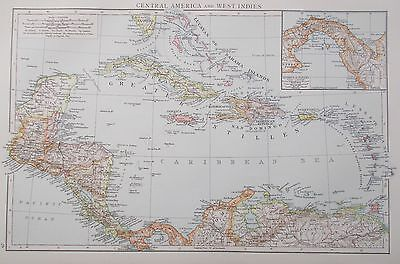 Map of the Caribbean & Central America. 1895. AMERICAS. CUBA