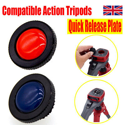Round Quick Release Plate Metal for Manfrotto Compact Action Tripods Red / Blue