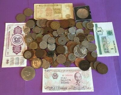 JOB LOT OF OLD WORLD COINS, BANKNOTES & CROWNS, 99p NO RESERVE, #6