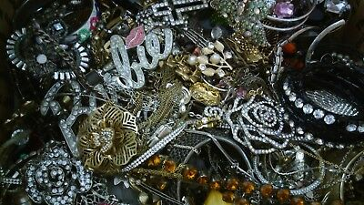 Massive Huge 20 lbs Vintage to Now ALL RHINESTONE Jewelry Harvest Craft Repair