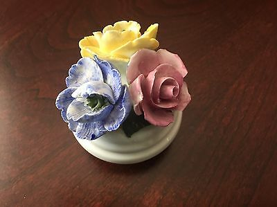 Sanford Fine Bone China Made in England Pot w/3 Flowers Lilac Pink Yellow