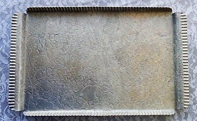 Hammered Aluminum Tray Platter The Beauty Line Design Raised Crimped Handles