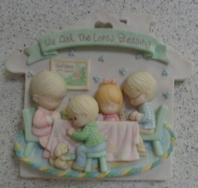 "Precious Moments 3 Dimensional Plaque ""We Ask The Lord's Blessing"" Wall decor"