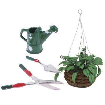 1/12 Miniature Gardening Tools And Hanging Plant For Dollhouse Garden Decor