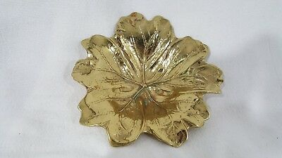 Vintage 1943 Virginia Metalcrafters Solid Brass May Apple Leaf  Heavy  Nice  USA