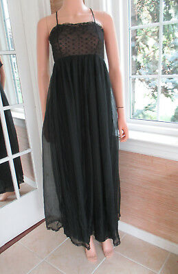 REAL VINTAGE BLACK lace stretch bodice & nylon skirted NIGHTGOWN by INTIME Sm