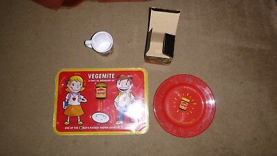 Vegemite collection place mat plate and cup.