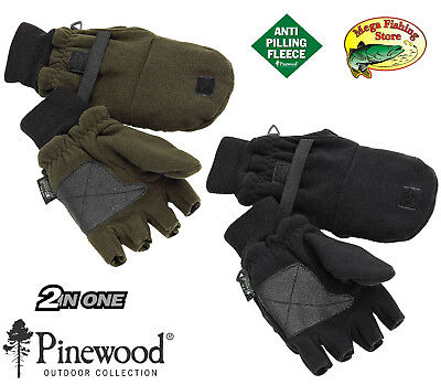 Pinewood 2in1 Thinsulate Fleece Angler & Jäger Handschuhe Jagd Angel Fäustlinge
