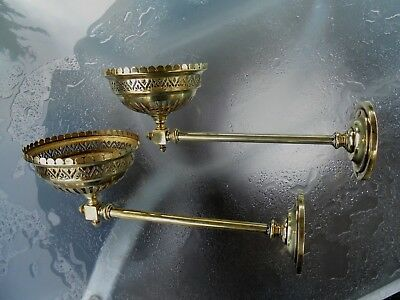 A Quality Pair Of Brass Antique Gas/oil Wall Sconce Brackets.