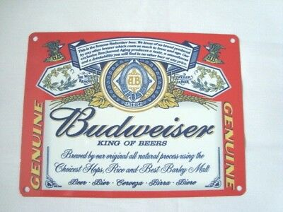 Budweiser King Of beers Metal Wall Sign Aged Vintage Finish