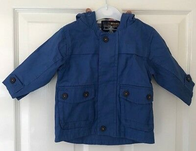 Ex Store Baby Boy Blue Hooded Lined Jacket Coat Mac Age 6/9 Months NEW