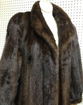 Beautifully Exquisite Full Length Finland Deep Brown Mink Coat Size 6 Or 9