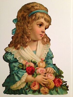 Large Antique Victorian Scrap Young Girl With Roses