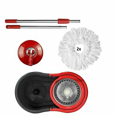 New Black and Red 360° Spin Mop and Bucket Set Rotating Heads With 2 Heads