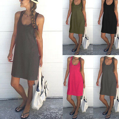 Womens Ladies Cotton Sleeveless Long Scoop Neck Dress Solid Vest Top