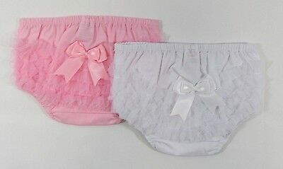 Baby Tutu Pants Frilly Special Occasion Elasticated Knickers White Pink Bow 0-6