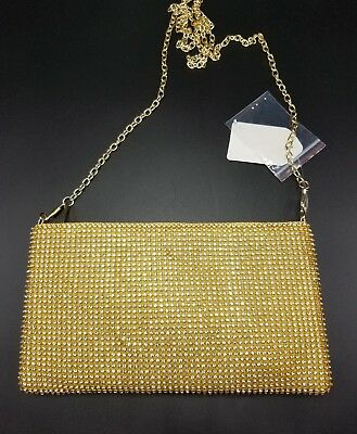 Evening Purse Cell Phone Pouch Gold Rhinestone Cross body Zip Sparkle Bling NEW