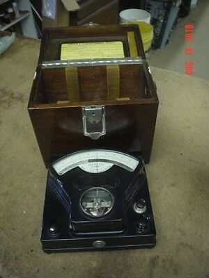 WESTON  DC MILLIVOLT METER  WITH WOOD CASE  used